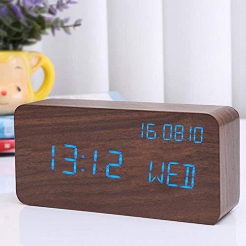 CHENXQ Wekker LED Kubus Houten Klok Voice Control Elektronische Bureau Tafelklok LED Digitale Horloge Radio Voor Kinderen