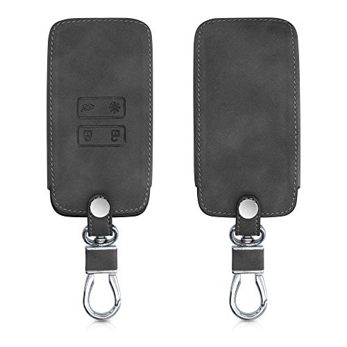 kwmobile Funda Compatible con Renault Llave de Coche Smart Key de 4 Botones (Solo Keyless Go) - Carcasa de Piel sintética - Protector para Mando de Coche en Gris Oscuro