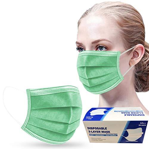 50 Stück Rosa/Grün/Schwarz/Grau/Blau Einmal-Mundschutz, Staubs-chutz Atmungsaktive Mundbedeckung, Erwachsene, Bandana Face-Mouth Cover Sommerschal (A)