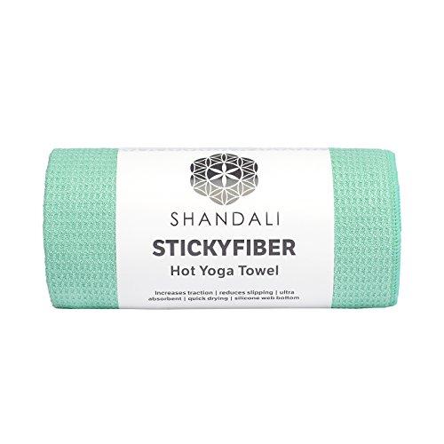 "Shandali StickyfiberHot Yoga Towel - Silicone Backed Yoga Mat-Sized, Absorbent, Non-Slip, 24"" x 72"" Bikram, Gym, and Pilates (Jade-Green, Standard)"