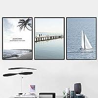 海景絵画帆船ココナッツの木家の装飾絵画リビングルーム壁アートキャンバス絵画ポスター-40x60cmx3個フレームなし