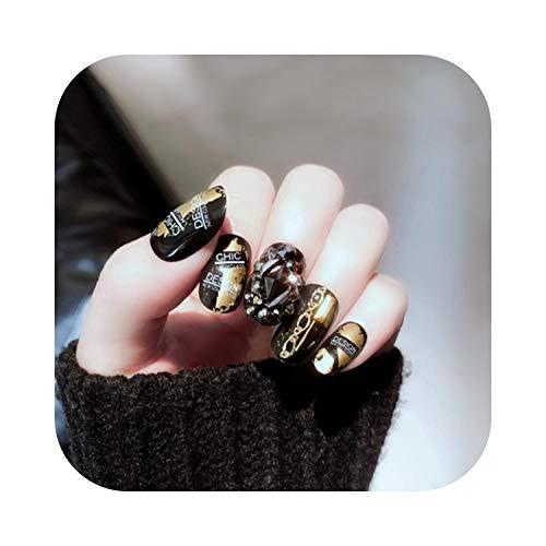 Faux Ongles Petits Ongles 24 Morceaux de Faux Ongles Finis Noir Blanc Gris Faux Ongles Non Toxique Protection de l'Environnement Excellent Look de Luxe -