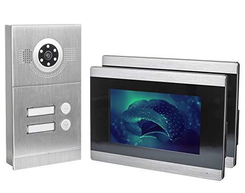 GVS IP Video Türsprechanlage, Aufputz-Türstation IP65, 2X 7\' Monitor, Handy-App, HD-Kamera 115°, Türöffner-Funktion, 32GB, PoE-Switch, 2 Familienhaus Set, AVS2030A