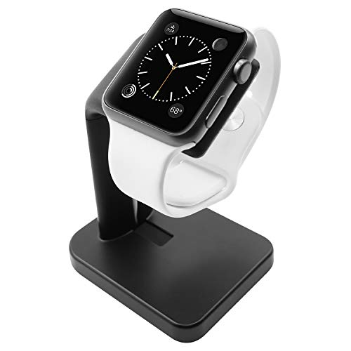 Macally Stand for iWatch - The Perfect Nightstand Charging Dock Station - Compatible with Smartwatch Series 5, Series 4, Series 3, Series 2, Series 1 (44mm, 42mm, 40mm, 38mm) - Black