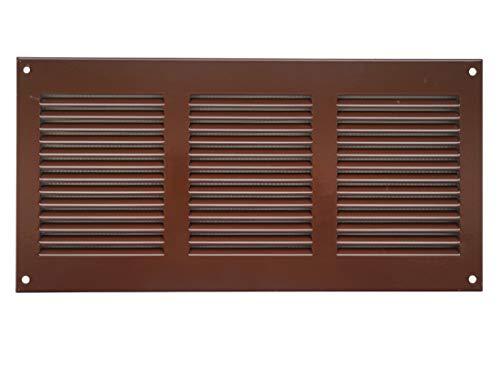 Ventilatierooster 300 x 150 mm, bruin, van plaatstaal, weerbeschermingsrooster met insectenbeschermingsrooster