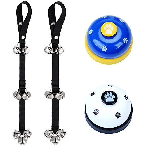 NEPAK 2 Pack Potty Bells Timbres para Perros + 2 Pack Campanas de Entrenamiento para Perros para Entrenamiento de Perros y Dispositivo de comunicación
