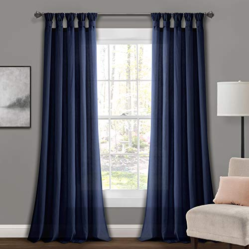 "Lush Decor Navy Burlap Knotted X 45 1 Tab-Top Window Curtain Panel Pair (95"" x 45"")"