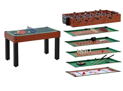 Garlando Games Tisch Multi 12Spiele in einem Kirschbaum