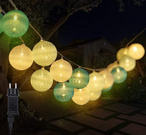 Kugel Lichterkette, DeepDream Cotton Ball Lichterkette 4.5m 20 LED Baumwollkugeln Lichterkette Bälle Lichterkette für Zuhause, Kinderzimmer, Balkon, Hochzeit, Weihnachts Dekoration (Blau, EU Stecker)