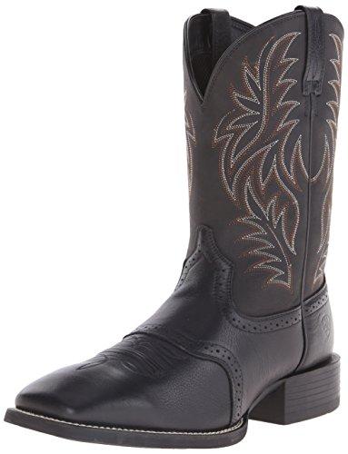 Ariat Men's Sport Wide Square Toe Western Boot, Black, 10.5 D(M) US