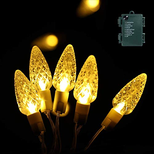 Christmas Lights, 16.4 Ft 50 LEDs Battery Operated Strings Lights 8 Modes On/Off Time for Xmas Tree Indoor Outdoor Christmas Decorations(16.4 FT)