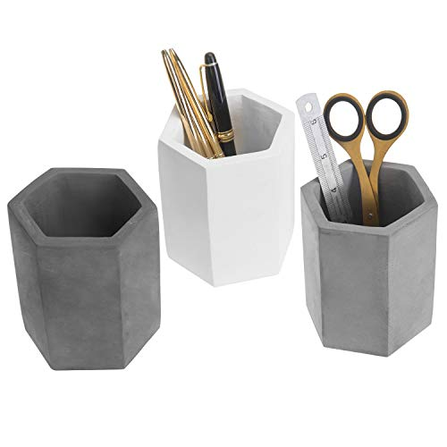 MyGift Decorative Hexagon Multi-colored Concrete Desktop Pencil/Stationary Holders (White, Gray, Black), Set of 3
