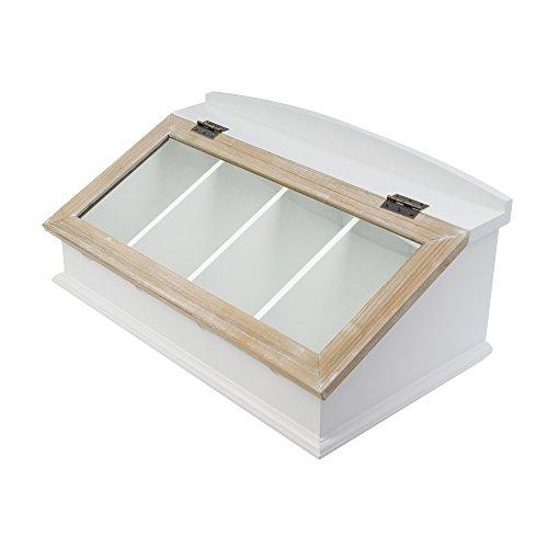 elbmöbel Besteckkasten mit Glasdeckel aus Holz (Braun)