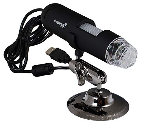 Microscopio Digital Portátil USB Levenhuk DTX 50 (20–400x) con Software Especial para Medir Distancias Lineales, Áreas, Ángulos y Radios de Las Muestras Estudiadas