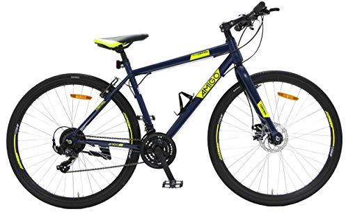 Amigo Control - Mountain bike 28 pollici - Per uomini e donne da 160 cm - Con 21 velocità Shimano Tourney - Con freno a mano, Freno a disco meccanico e Cavalletti per bicicletta - Blu