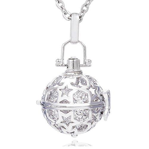 Morella Damen Schutzengel Halskette Edelstahl 70 cm mit Anhänger Sterne und Klangkugel Zirkonia weiß Ø 16 mm in Schmuckbeutel