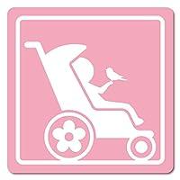 imoninn ベビーカー バギーサイン 子供用障害者マーク 障害児マーク 【マグネットタイプ】 車いすサイン・福祉車両用 (ピンク色)