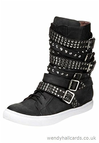 Geffrey Campbell Bottes Rancid-M Black Washed Silver T 43