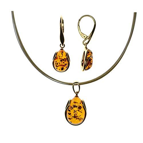Juego de joyas elegante de Artisana, colgante y pendientes de plata de ley 925/000 chapada en oro y ámbar báltico, gargantilla de 6 hilos de acero inoxidable