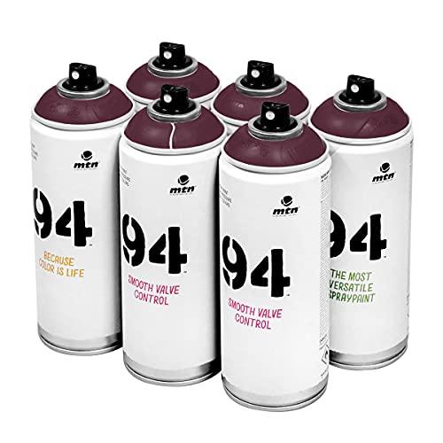 MTN 94 Bitacora Red vernice spray, scatola da 6 lattine, 400 ml, bassa pressione, finitura opaca