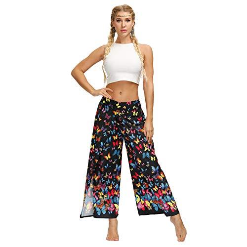 LLYA Pantalones de Yoga Sueltos Impresión Digital Estilo étnico Bohemio Sexy Pantalones de piernas de Ancho Dividido Ajuste Fitness Deportes Yoga Pantalones Casuales,Yea037,S/M