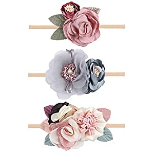 Oaoleer Baby Girl Floral Headbands Set – 3pcs Flower Headbands Newborn Toddler Hair Accessories