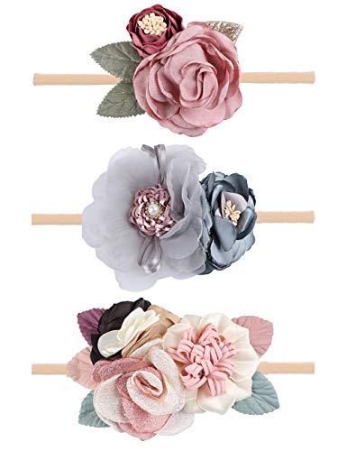 Oaoleer Baby Girl Floral Headbands Set – 3pcs Flower Headbands Newborn Toddler Hair Accessories