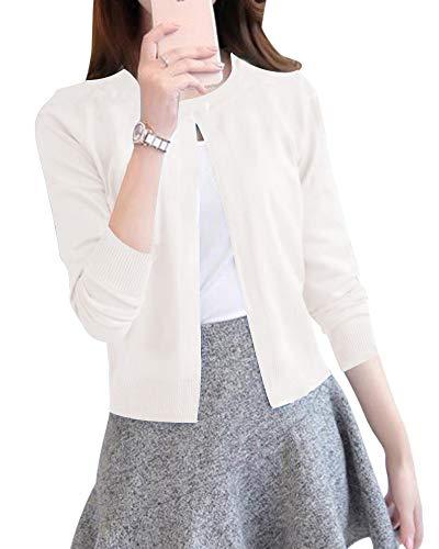 ShiFan Cardigan A Maglia Donna Corto Leggero Coprispalle Giacca Top Maniche Lunghe Eleganti Bianco S