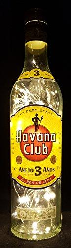 Havana Club - Flaschenlampe mit 80 LEDs Warmweiß Upcycling Geschenk Idee