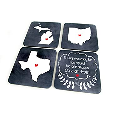 Custom State Drink Coasters with Close at Heart Motto - Square