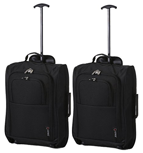 5 Cities The Valencia Collection Handgepäck Set of 2 TB023-830 Black, 55 cm, 42 L, Schwarz