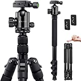 VICTIV Camera Tripod 81 inches Monopod, Aluminum Travel Tripod for DSLR, Lightweight Tripod Loads Up to 30 lbs with 360 Degree Ball Head and Carry Bag for Travel and Work - AT26 Black
