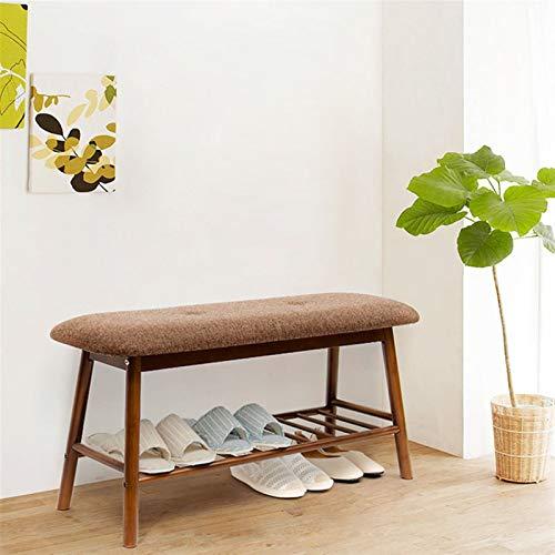 ZHPBHD Zapatero Rack de Zapatos de bambú con Banco de Almacenamiento amortiguado, Dormitorio de Pasillo Banco tapizado, 20.9x11.8x17.7inches / 53x30x45cm (Color : Retro Color)