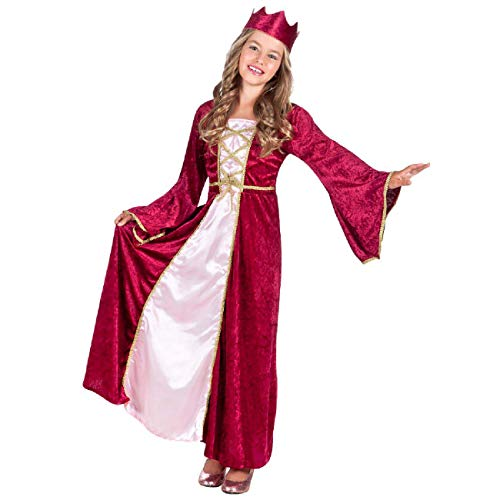 Boland 82142 - Kinderkostüm Renaissance Königin, für Mädchen zwischen 4 und 6 Jahren, ca. 120-130 cm, Kleid, Krone, Verkleidung, Prinzessin, Mittelalter, Mottoparty, Karneval
