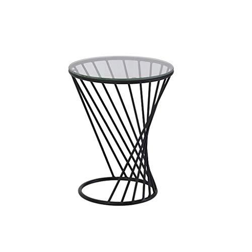 Mesa de centro pequeña Mesa de comedor redonda de metal Mesa auxiliar Mesa de centro pequeña y redonda de vidrio templado redondo Diseño en espiral mesa de centro ( Color : Black , Size : Small )