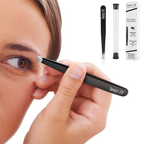Pinzas para cejas de grado quirúrgico con puntas inclinadas para uso profesional, la mejor precisión diseñada para resultados de belleza impecables, acero inoxidable en estuche de viaje