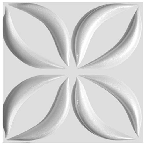 3D Wandpaneele Sparpaket - effektvolle Wandgestaltung mit detaillierten Polystyrolplatten, EPS deutliche Musterung, leicht und stabil - 10 qm 50x50cm Lotos