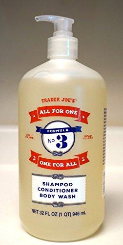 Trader Joe's - FORMULA NO.3 ALL FOR ONE, ONE FOR ALL Shampoo, Conditioner & Body Wash NET 32 FL OZ 946 ml