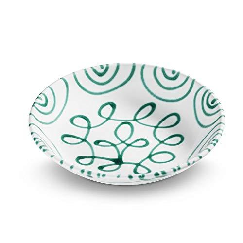 GMUNDNER KERAMIK Suppenteller Cup Durchmesser : 20 cm Grüngeflammt Geschirr, handgemacht in Österreich