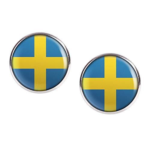 Mylery Ohrstecker Paar mit Motiv Schweden Sverige Skandinavien Flagge silber 16mm