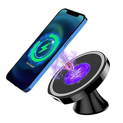 Cargador Magnético de Teléfono para Coche, Cargador Inalámbrico Coche, 15 W Qi Cargador Rápido Wireless Car Charger Rotación de 360° Compatible con iPhone 12/12 Pro/12 Pro Max/12 Mini(A)