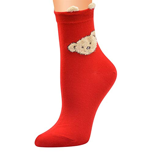 YiMiny Men Women Christmas Socks Vintage 3D Cashmere Santa Claus Print Warm Non-slip Elasticity Thermal Plush Soft Home Socks Couple Christmas Gift(J,One Size)