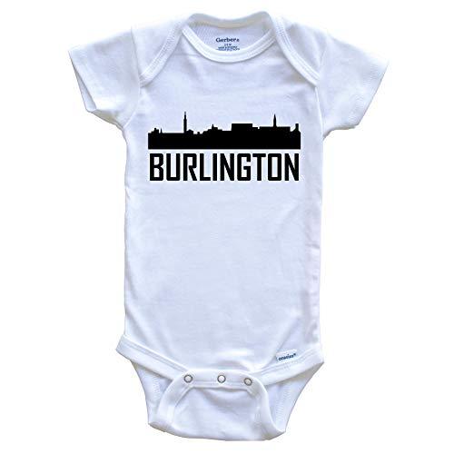 Burlington Vermont Skyline Silhouette Baby Onesie, 3-6 Months White