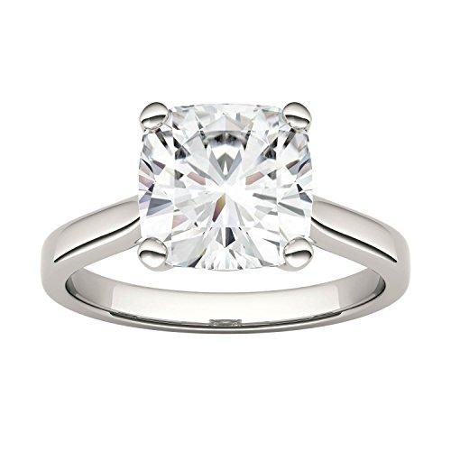 Charles & Colvard Virtual Stock anillo de compromiso - Oro blanco 14K - Moissanita de 9 mm de talla cojín, 3.3 ct. DEW, talla 19,5