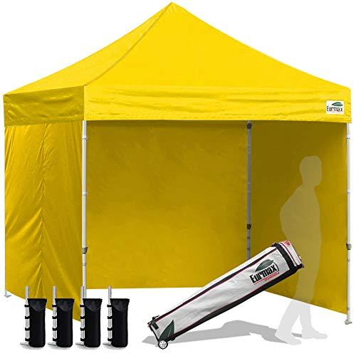 Eurmax 8x8 Feet Ez Pop up Canopy Tent, Pop-up Instant Tent, Outdoor Canopies Commercial Gazebo with Sidewalls and Roller Bag, Bonus 4 SandBags, (Yellow)