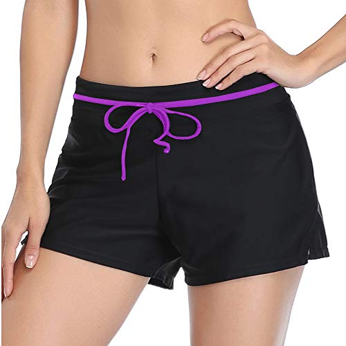 Summer Mae Women Swimshorts Side Split Adjustable Beach Tummy Control Swimwear Trunks Black/Purple 2XL