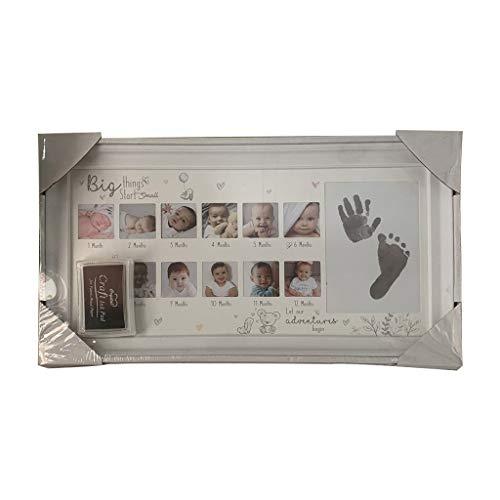 WE-HYTRE Bilderrahmen für Babyfotos, Aufschrift My First Year, 12 Monate, Hand-Fußabdruck, Gedenkfotorahmen für Neugeborene weiß