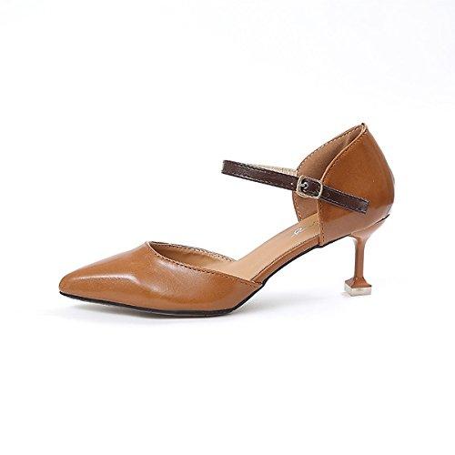 DIMAOL Damenschuhe PU Frühling Sommer Basic Pumpe Komfort Heels Stiletto Heel Schuhe Schnalle für Kleid dunkel Braun Beige Schwarz, Dunkelbraun, Us7.5/EU38/UK5.5/CN 38