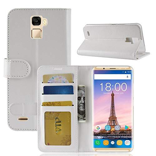 tinyue® Für Oukitel K5000 Hülle, Ultradünne PU-Ledertasche Flip Wallet Cover, R64 strukturierte Business Style Ledertasche, Weiß