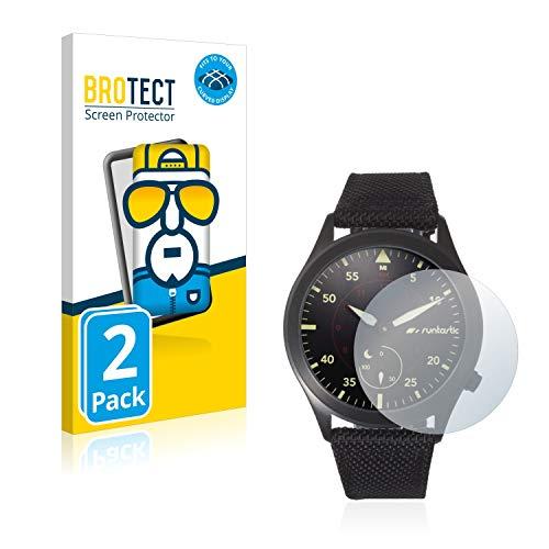 BROTECT Full-Cover Schutzfolie kompatibel mit Runtastic Moment Elite (2 Stück) - Full-Screen Bildschirmschutz-Folie, 3D Curved, Kristall-Klar
